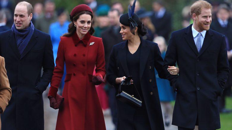 Princi William me bashkëshorten, Kate Middleton, dhe Princi Harry me bashkëshorten e tij, Meghan Markle (Foto: Stephen Pond/Getty Images/Guliver)