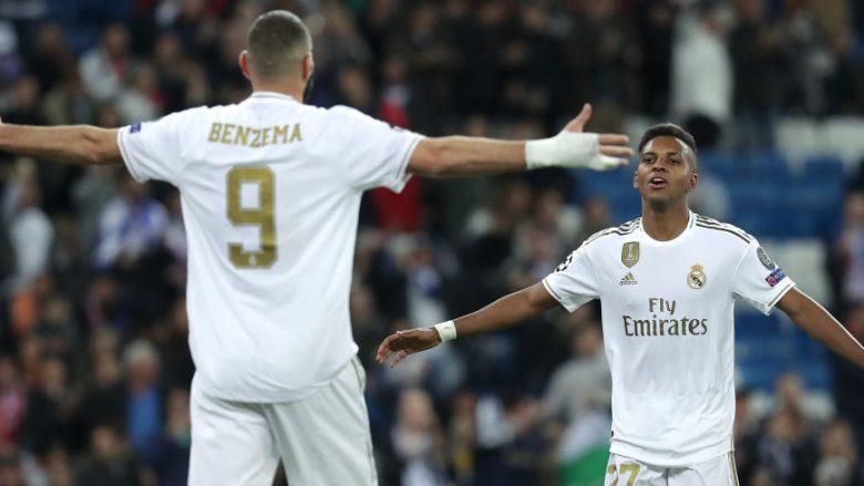 Rodrygo e Benzema. (Foto: Gonzalo Arroyo Moreno/Getty Images)