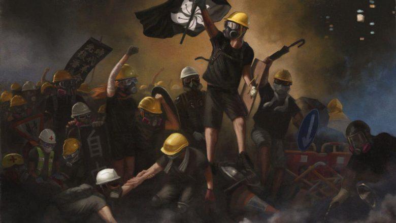 """Artisti anonim me pseudonimin Harcourt Romanticist me këtë punim i referohet romantikut francez Eugène Delacroix dhe pikturës së tij, """"Liria u prinë njerëzve"""""""