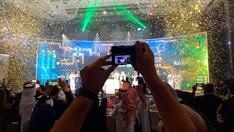 Festimet gjatë veprimtarisë IPO Aramco në Hotel Fairmont në Riad më 11 dhjetor (Foto: Bloomberg)