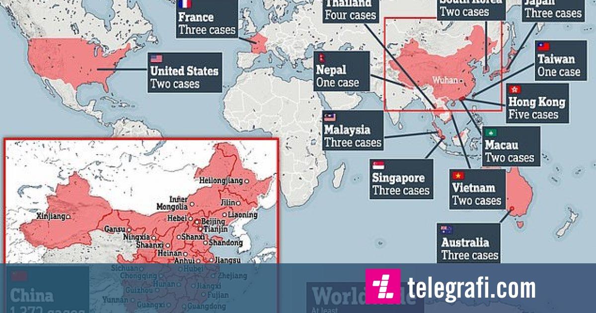 Kjo është harta e botës që tregon vendet e prekura deri më tani nga virusi vdekjeprurës
