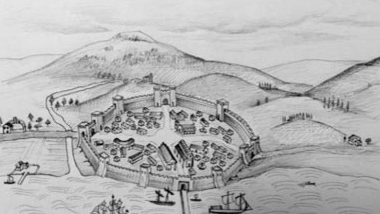 Pamje e përfytyruar e qytetit peshkopal të Aulonës të ndërtuar nga Justiniani i Madh
