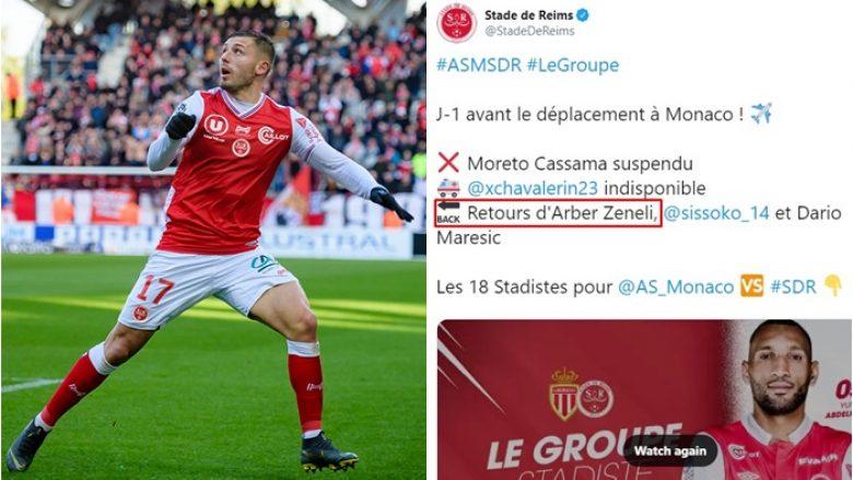 Arbër Zeneli ftohet për herë të parë nga Reims, do të jetë i gatshëm për ndeshjen me Monacon