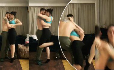 Të karantinuar në shtëpi, Bes Kallaku dhe Xhensila nisin të bëjnë një vallëzim derisa papritur rrëzohen para kamerës