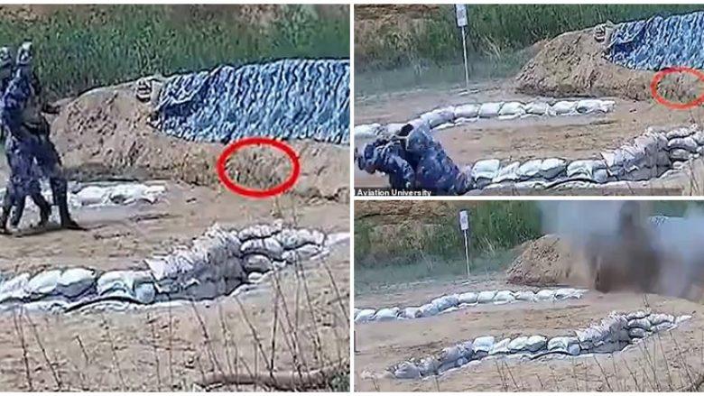 Po stërvitej që të hidhte granatën e dorës, kadeti kinez bën gabimin që ka mundur t'i kushtojë me jetë – e shpëton instruktori