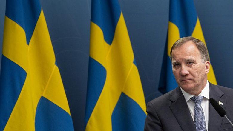 Kryeministri i Suedisë, Stefan Lofven, gjatë një konference për shtyp në lidhje me situatën e pandemisë COVID-19