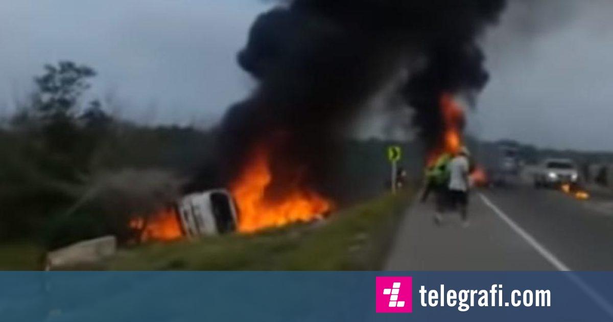 Rrokulliset kamioni cisternë në Kolumbi  qytetarët grumbullohen për të marrë derivatet që derdheshin   shpërthen mjeti dhe lë të vdekur 7 persona