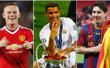Nga Ronaldo te Messi dhe Rooney: Kush janë 25 lojtarët që janë përfshirë në më shumë gola në histori të Ligës së Kampionëve?
