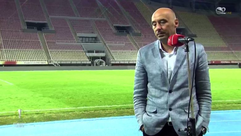 Trajneri i Shkëndijës, Ernest Gjoka (Foto: Screenshot/SuperSport.al)