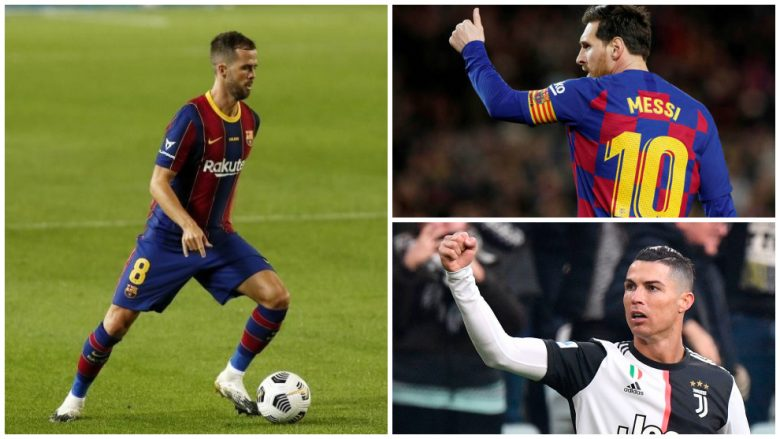 Miralem Pjanic, Lionel Messi, Cristiano Ronaldo (Fotomontazh: Marca)