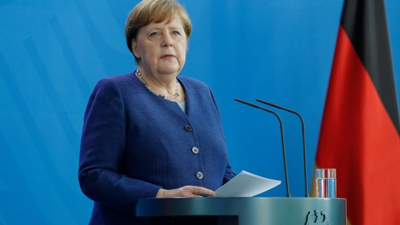 German Chancellor Angela Merkel addresses a press conference following a metting with international economic and Financial organisations at the Chancellery in Berlin, Germany, on May 20, 2020 on the effects of the novel coronavirus COVID-19 pandemic. (Photo by Odd ANDERSEN / various sources / AFP)