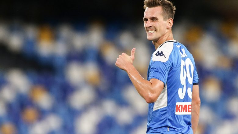 Arkadiusz Milik of SSC Napoli gestures during the Serie A football match between SSC  Napoli and Udinese Calcio at stadio San Paolo in Naples ( Italy ), July 19th, 2020. Play resumes behind closed doors following the outbreak of the coronavirus disease.  Photo Cesare Purini / Insidefoto/Sipa USA   Photo by Icon Sport - Stade San Paolo - Naples (Italie)