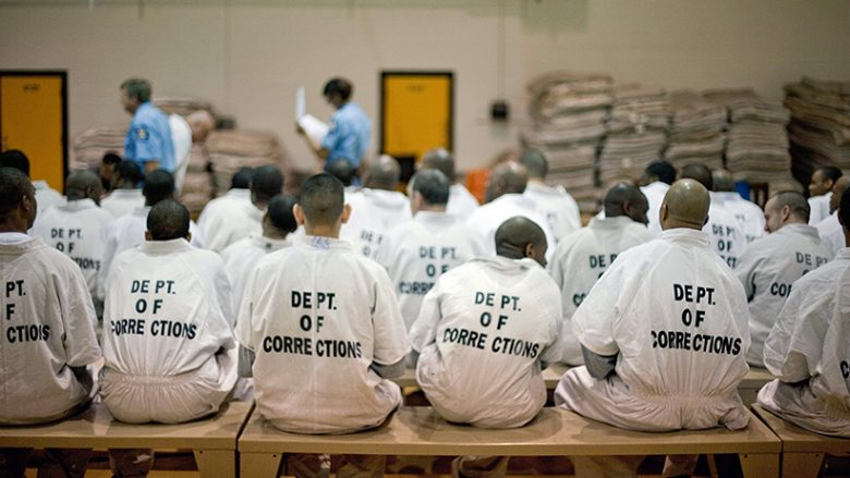 Newly arrived prisoners wait to be processed at the state prison in Jackson, Ga. (David Goldman/AP)