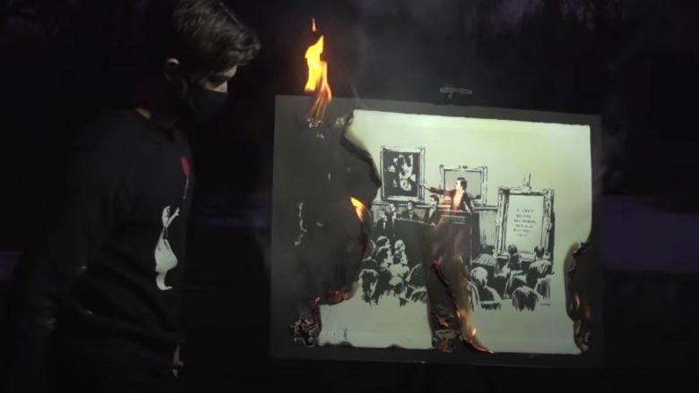 Banksy në flakë, më i vlefshëm se origjinali!
