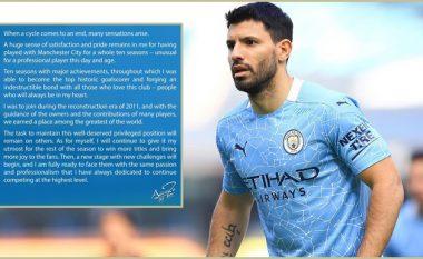 Letra e Agueros pas konfirmimit për largimin e tij: Kam farkëtuar një lidhje të pathyeshme me ata që e duan Cityn