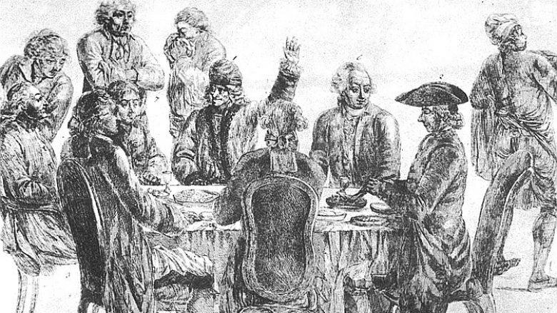"""Në kafenenë """"Prokocop"""" (Café Procope), nga e majta në tavolinë: Condorcet, La Harpe, Voltaire (me dorën e ngritur) dhe Diderot"""