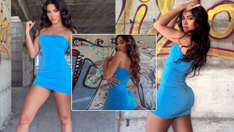 Melinda Ademi merr vëmendje me pozat provokuese me fustan blu