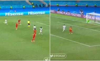 Nga një distancë prej 22 metrash, Thorgan Hazard i shënon super gol Portugalisë