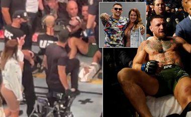 Gruaja e Dustin Poirier nuk ngurroi t'ia tregonte gishtin e mesit McGregorit që po qëndronte i shtrirë në dysheme