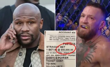 Floyd Mayweather vendosi një bast prej 50 mijë dollarësh për humbjen e McGregor ndaj Poirier dhe e fitoi atë