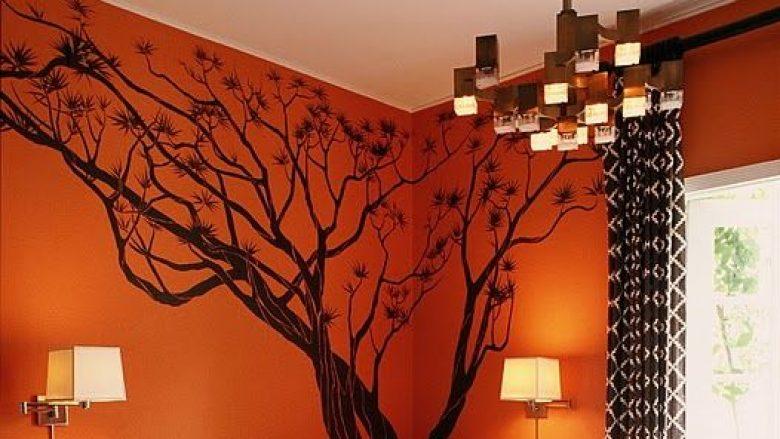 Ide për dekorimin e murit me ngjyrë portokalli