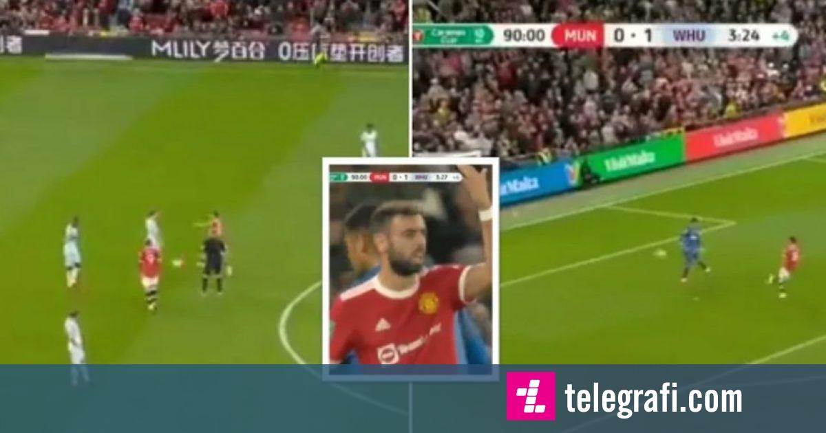Të gjithë po qeshin me Bruno Fernandesin  ylli i Man Utd u përpoq të shënonte golin e barazimit duke mos respektuar  fair play