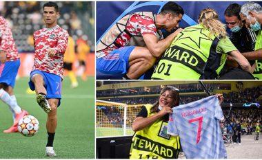 E goditi me top para ndeshjes – Ronaldo tregon zemrën e madhe, ia dhuron fanellën rojës që e rrëzoi me top para ndeshjes